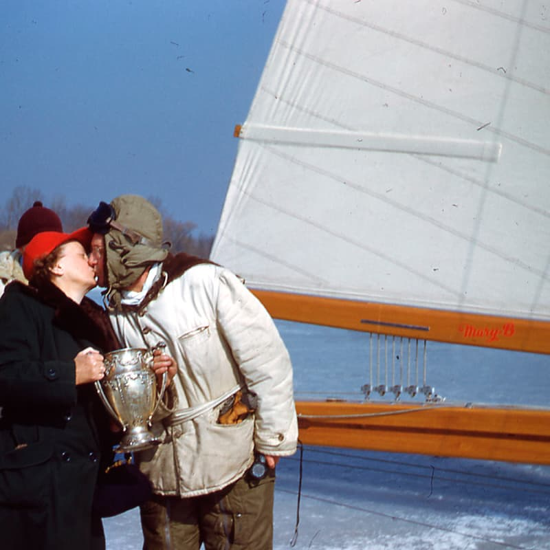 Crowds gathered on the ice to get a close look at the Mary B after a race on Lake Monona 1952