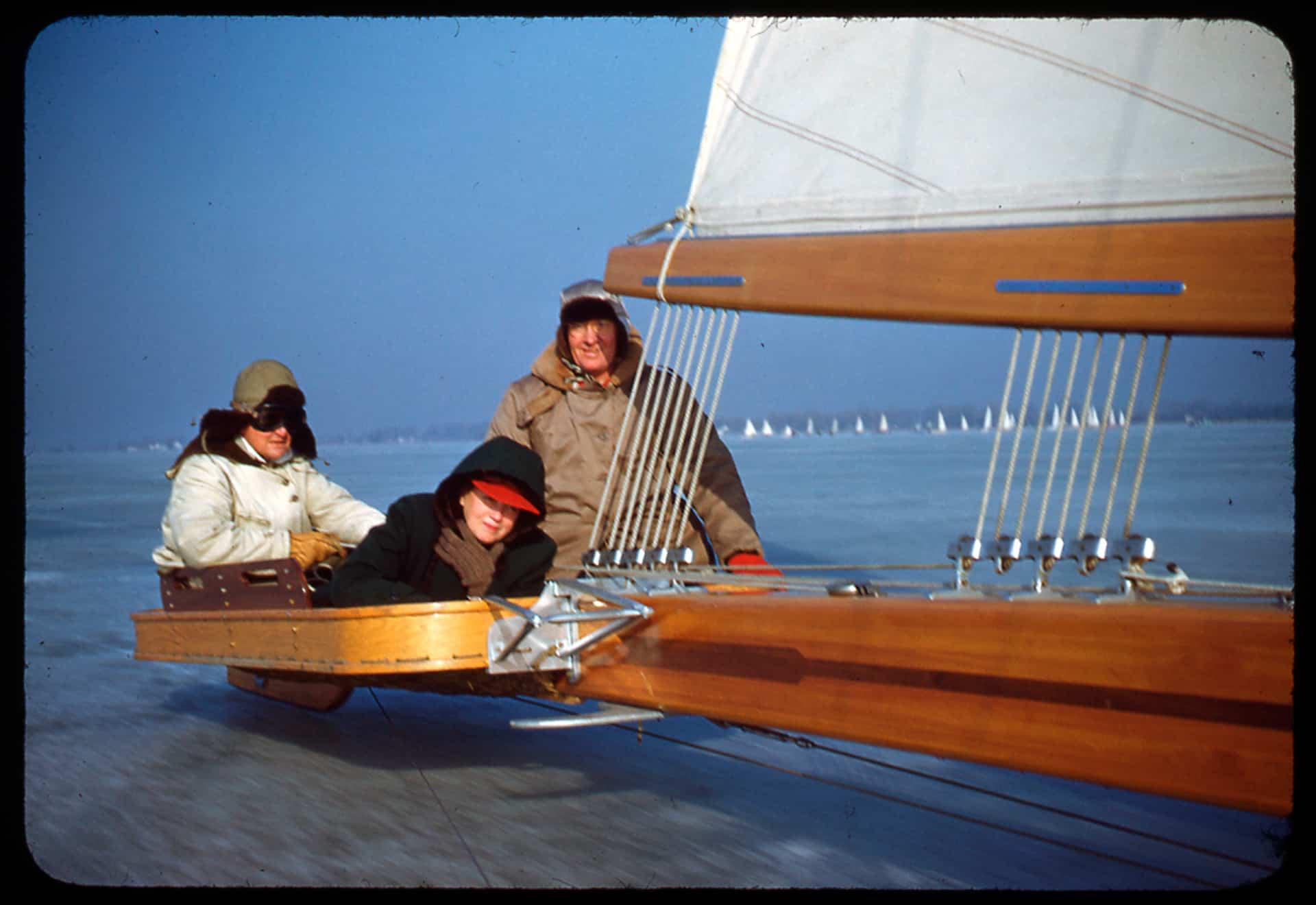 Carl Bernard, Mary B Havey and OT Havey sailing.  Note, no side baskets.