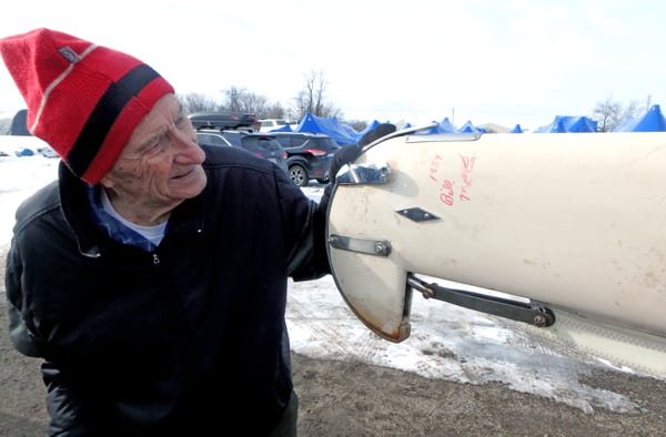 Mary B unveiling at Boathouse 1/30/16.  Bill Mattison with 1959 signature