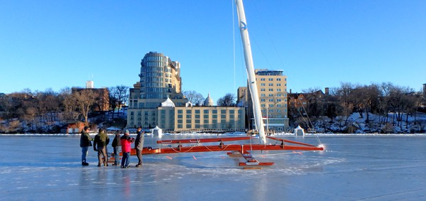 A beautiful day on Lake Mendota.  Our volunteers savor beautiful ice and Wisconsin's Capitol building.  Two views that never seem to get old.